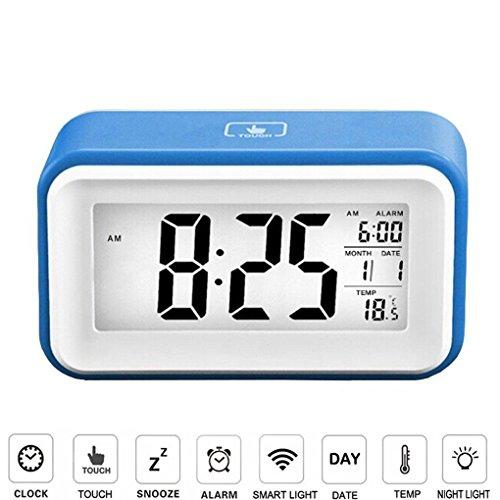 FkeFace Home Greeney Digitale Wecker Uhren Mit Großes Bildschirm und Smart-Touch Control, Temperaturanzeige, Kalender, 24/12 Stunden-Umwandlung, Aufsteigende Alarm, Sensor-Hintergrundbeleuchtung, Praktische Snooze / Licht Funktion Ultra Lautlos BLAU