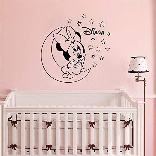 wandaufkleber Personalisierte Name Minnie Mouse für Kinderzimmer Dekor Mädchen Zimmer Kinderzimmer Schlafzimmer Dekor (Rosa Und Schwarz Schlafzimmer Dekor)