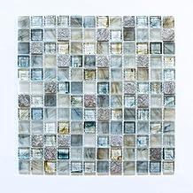 Fliesen Mosaik Mosaikfliese Glas Glänzend Cream Grau Küche Bad WC 6mm ...