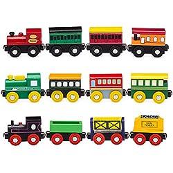 Playbees Set de Trenes de Madera 12 Unidades, Vagones y Locomotoras Compatibles con Sets de Trenes Brio y de Otras Marcas