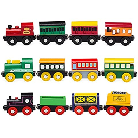 Playbees 12-Piece Wooden Train Cars Magnetic Set Includes 3 Engines,