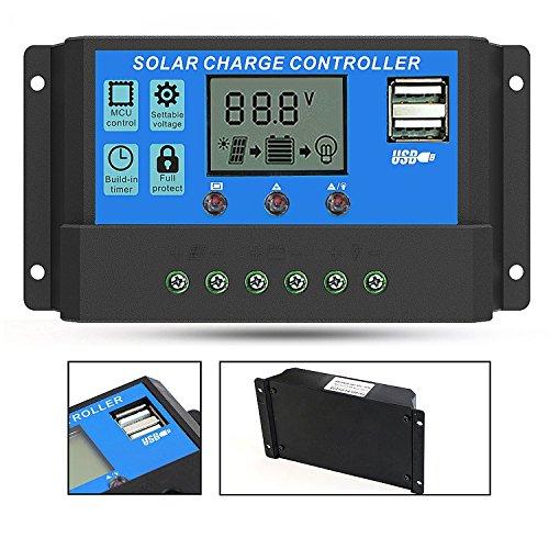 GIARIDE 20A Solarladeregler Solarregler 12V 24V Solar Panel Regler PWM Intelligente Autobatterie Regler LCD Anzeigen Solarladeregler Mit USB