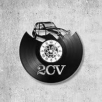 Horloge murale en vinyle 33 tours fait-main/thème 2CV, voiture, deux chevaux, citroen