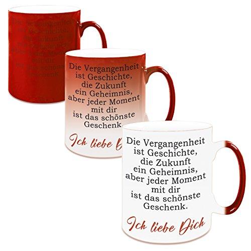 Farbwechseltasse mit Motiv Modell: Die Vergangenheit ist Geschichte (red) (Vergangenheit-keramik-tasse)