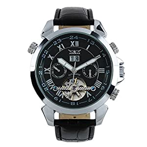 ESS Men's Gent Black Tourbillon Date Aviator Automatic Mechanical Watch WM181