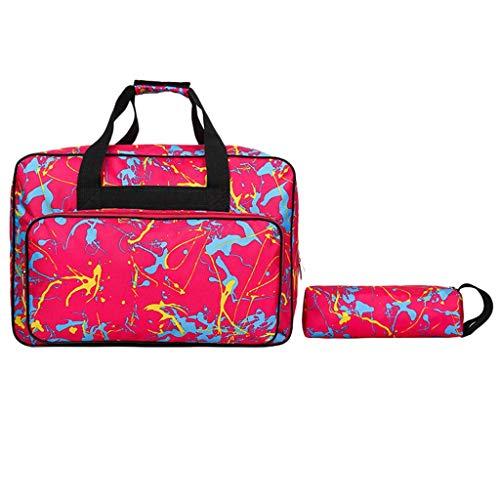 VADFLOD Taschen 2er Set Nylon Print Cute Reisetasche Handtasche Weekend Bag Tote Checked Gepäcktasche mit Geldbörse, Hot Pink - Patent Shopper Tote