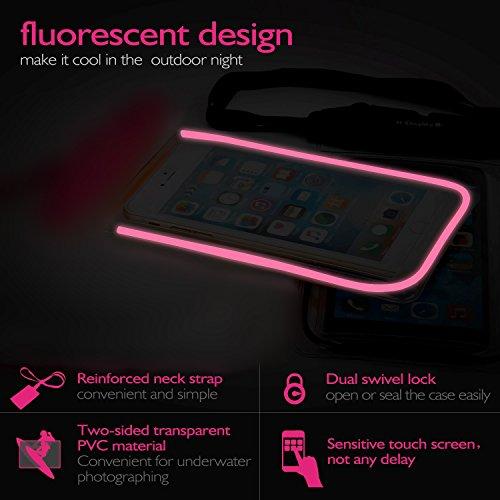 [Certifiée IPX8] Pochette étanche, [4 pièces] iVoler Pochette Sac étanche Universel Waterproof Case Bag Housse Coque Etui pour Apple iPhone 7, 7 Plus,6s / 6, 6s Plus / 6 Plus, SE 5S 5C, Samsung Galaxy Nior+Bleu+Vert+Rose