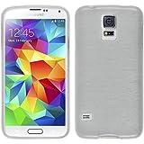 PhoneNatic Case für Samsung Galaxy S5 mini Hülle Silikon weiß brushed Cover Galaxy S5 mini Tasche + 2 Schutzfolien