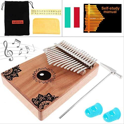 Xjwq Daumen Klavier 17 Key Kalimba Solide Mahagoni Finger Daumen Klavier Mit Blumen Muster Mbira Natürliche Mini-Keyboard-Musikinstrument Klavier Und Gehäuse