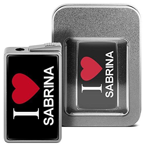 Feuerzeug mit Namen Sabrina - personalisiertes Gasfeuerzeug mit Design I Love - inkl. Metall-Geschenk-Box 3