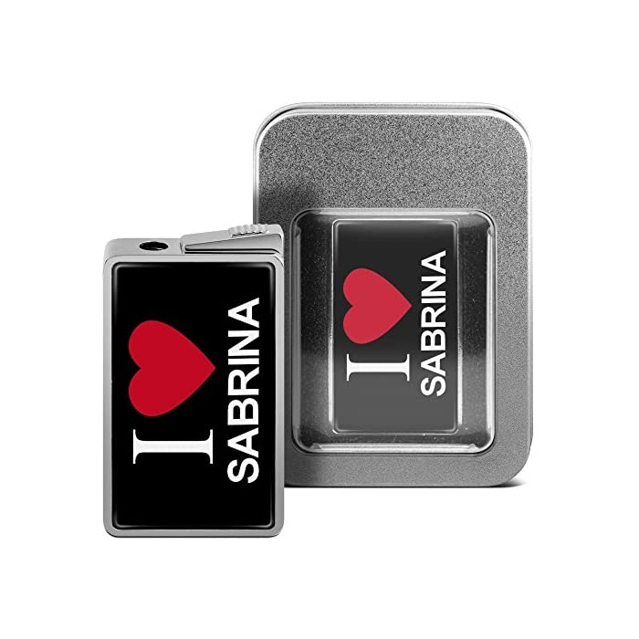 printplanet Feuerzeug mit Namen Sabrina - personalisiertes Gasfeuerzeug mit Design I Love - inkl. Metall-Geschenk-Box