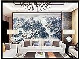 Wolipos 3D Wandmalerei Wand-Aufkleber Tapete Wandtattoo Fernsehhintergründe L Scape Malerei Chinesische Fernseheinstellung Blaue Weide Für Hd Dekoration 250Cmx180Cm