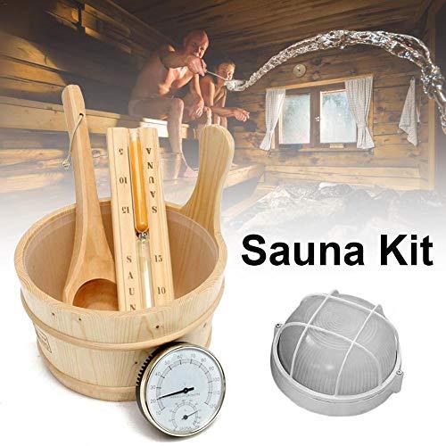 Xuanyang524 Juego Sauna 5 Piezas Cubo Sauna Madera