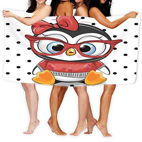 HUTTGIGHT Strandhandtuch, weich, schnell trocknend, leicht, hohe saugfähig, für Pool- und Spa-Becken, für Erwachsene, 79 x 130 cm, süßer Cartoon-Pinguin, rote Brille, niedliches Cartoon-Peng