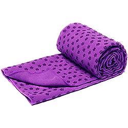 Toalla para estera de yoga bikram, de secado rápido, antideslizante con puntos de agarre (6 colores), con bolsa de transporte de malla, extra grande (62 x 183 cm), morado