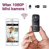 Mini Kamera FREDI 1080P HD Tragbare Kamera WLAN Kamera Kleine IP Kamera Überwachungskamera mit Bewegungserkennung/IR Nachtsicht mit Akku Innen Haus für iPhone