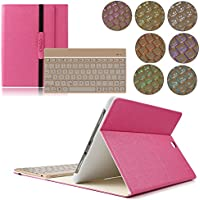 Custodia per Samsung Galaxy Tab S2 9.7, kvago 7 colori Retroilluminazione Tastiera retroilluminata staccabile sottile elegante 3-Folding protettiva in pelle PU con tastiera Wireless Bluetooth, per tablet Samsung Galaxy Tab S2 9.7 inch SM-T815 T810 Rose Red