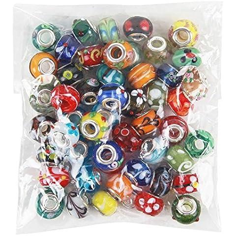 nalmatoionme 50piece La maggior parte dei braccialetti Lot in vetro di Murano perline Mix europeo