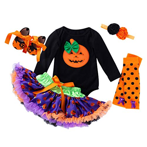 Romantic Halloween Kostüme Kinder 5tlg Baby Kürbis Deko Strampler Overall Spielanzug Mädchen + Spitze Tutu Rock Mädchen + Stirnband + EIN Paar Socken + EIN Paar Schuhe Baby für (Mädchen Superheld Tutu Kostüm)