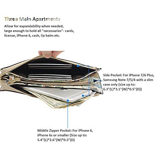 Befen pelle morbida Smartphone Zipper Wallet Organizer con il supporto della carta di credito / tasca contanti / Wristlet- [Fino a 6 x 3.1 * 0.3 pollici del cellulare] Black Giornale