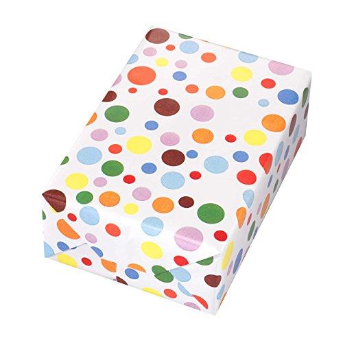 Geschenkpapier Rolle 50 cm x 50 m, Motiv Ballero, bunt glänzendes Punkte-Design. Für Geburtstag, Kinder.