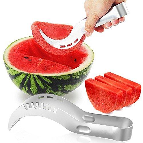 UBEGOOD Wassermelonen Messer, Edelstahl Gabel Obstmesser Wassermelone Schneide Melonenmesser Melonenausstecher, Smart Kitchen Gadget & perfekte Geschenk