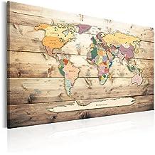 murando - Cuadro 90x60 cm - Mundo - Impresion en calidad fotografica - Cuadro en lienzo tejido-no tejido - Postal Kontinente Madera k-B-0009-b-b