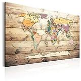 murando - Bilder 90x60 cm Vlies Leinwandbild 1 TLG Kunstdruck modern Wandbilder XXL Wanddekoration Design Wand Bild - Poster Weltkarte Kontinente Welt Karte Holz k-B-0009-b-b