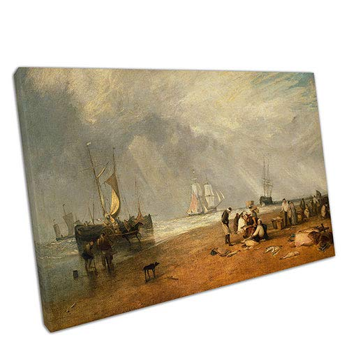 EACanvas Joseph Mallord William Turner The Fish Market at Hastings Beach Reproduktion, A3-16 x 12 Inch Fish Turner
