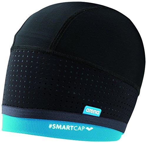 arena Unisex Badekappe Smartcap Swimming (Extraweich, Haarband für lange Haare, Red Dot Design Award), Black-Turquoise (100), M/40