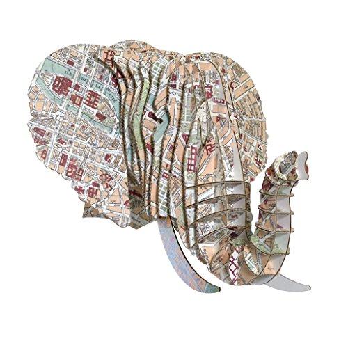 Vintage mapa impresiones cartón elefante Jefes