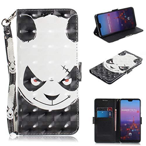 Gelusuk Huawei P20 Pro Hülle,P20 Pro Ledertasche,Ultra Dünn PU Leder Manget Flip Cover [Kartenfächer][Ständer] Wallet Brieftasche Case Full Protection Bookcase Bumper Schutzhülle Tasche-Wütend Panda