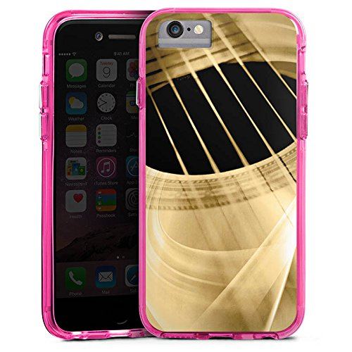 Apple iPhone 6s Bumper Hülle Bumper Case Glitzer Hülle Gitarre Instrument Saiten Bumper Case transparent pink