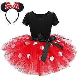 FONLAM Vestido Disfraz de Princesa Fiesta de Lunares Niña Bebé Vestido Maillot de Ballet Danza Tutú + Diadema Infantil Actuación Niña (Rojo, 4 Años)