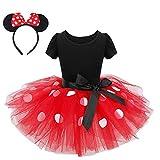 FONLAM Vestido Disfraz de Princesa Fiesta de Lunares Niña Bebé Vestido Maillot de Ballet Danza Tutú + Diadema Infantil Actuación Niña (Rojo, 2 Años)