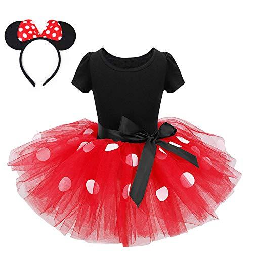 FONLAM Vestido Disfraz de Princesa Fiesta de Lunares Niña Bebé Vestido Maillot de Ballet Danza Tutú + Diadema Infantil Actuación Niña (Rojo, 3 Años)