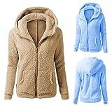 Damen Frühling Herbst Mantel mit Kapuze, LeeMon Hooded Sweater Coat Winter Warm Wool Zipper Coat Cotton Coat Outwear 1