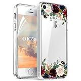 OKZone iPhone 5/5S/SE Hülle [mit HD-Schutzfolie], [Blumen Series] Transparent Silikon Malerei Muster Hülle TPU Blühende Blumen Design Schutzhülle für Apple iPhone 5/iPhone 5S/iPhone SE (Dunkelrot)