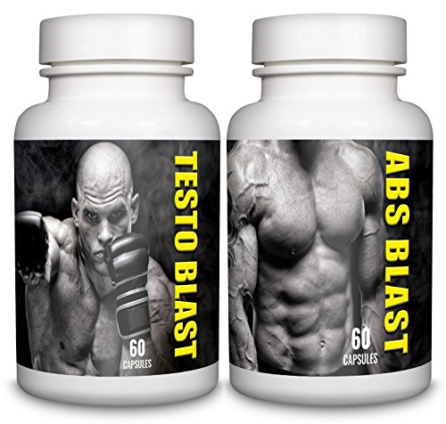 Testo Blast & Abs Blast – 1-month Supply – Testosterone and Libido Support - Sports Nutrition Supplements for Men by Natural Answers