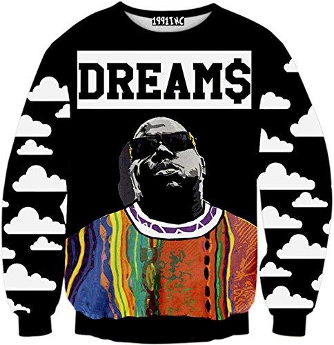 PIZOFF Unisex Hip Hop Sweatshirts mit 3D Digital Print 3D Muster, Y1759-n8, - Kinder T-Shirt Jordan