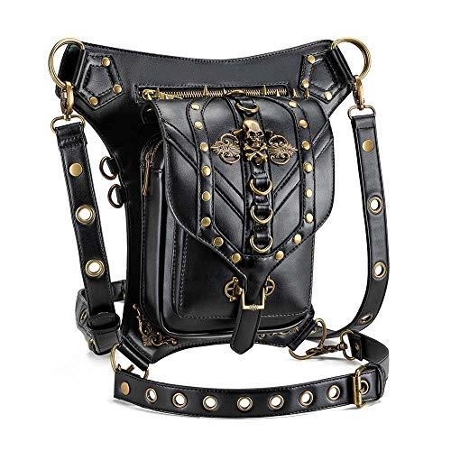 TOMSSL Europäische Und Amerikanische Punk-Rock-weiche Schulter Diagonal Mehrzweckhandtaschen Schwarz Skelett Kopf Schädel PU-Motorradbeutel Im Freien Persönlichen Taschen Schöne, hohe Qualität -