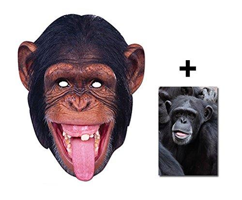 Schimpanse-Affe Tier Single Karte Partei Gesichtsmasken (Maske) Enthält 6X4 (15X10Cm) starfoto