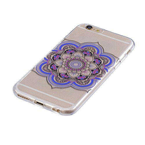 Coque pour Apple iPhone 6S Plus / 6 Plus ,IJIA Transparent Bleu Plumes Carillons éoliens TPU Doux Housse Silicone Case avec Rotatif Bague Support Cover Bumper Shell Etui pour Apple iPhone 6S Plus / 6  FD61