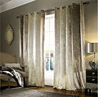 """Kylie Minogue Natala Champagne Velvet Lined 66"""" X 90"""" - 168cm X 229cm Ring Top Curtains from Kylie Minogue Home."""