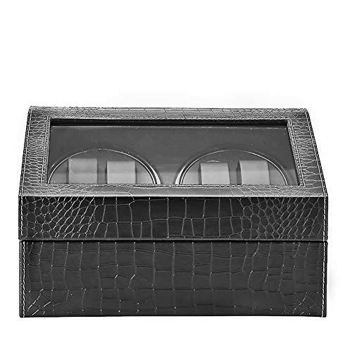 YRHG Schwarzes Krokodil Uhrenbeweger, Automatik Uhrenbeweger 4 + 6 Großraum Uhrenbox, Uhren Rotation Aufbewahrungsbox Displaybox für automatische mechanische Uhren