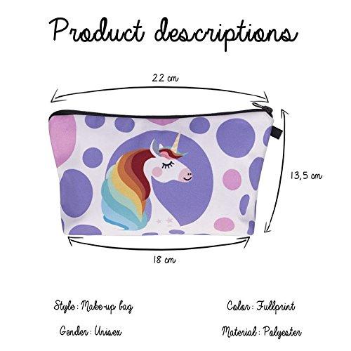 Kukubird Divertimento Nuovo Animale Foto Modello Stampa Make-up Bag Con Sacchetto Di Polvere Di Kukubird Unicorn Hairdo