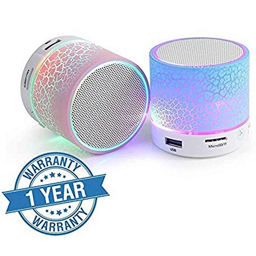 Captcha Wireless LED Bluetooth Speakers S10 Handfree with Calling Functions & FM Radio For All Android & Iphone Smartphones (One Year Warranty, Assorted Colour)