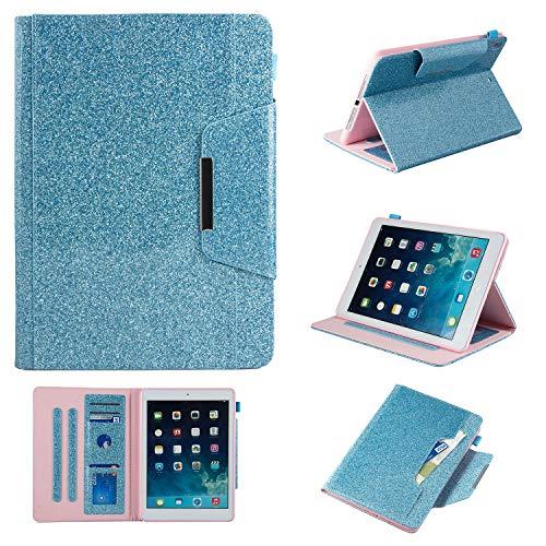 iPad 24,6cm 20182017(iPad 6./5. Gen.)/iPad Air 2/iPad Air Fall, uliking Vintage Smart Folio Ständer PU Leder TPU Wallet Karte Pocket Pencil Halterung [Auto Sleep/Wake] Blau 01 Blue
