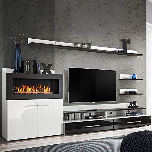 NOUVOMEUBLE Mueble para TV con Almacenamiento y Chimenea, Color Negro Lacado MARTANO