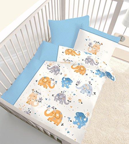 """Fein Biber Baby Kinder Bettwäsche """" ELEFANTEN TANZ """" fröhliche Elefanten & Blumen gepunktet in blau - 100 % Baumwolle - Größe 40x60 + 100 x 135 cm - hergestellt in Deutschland"""
